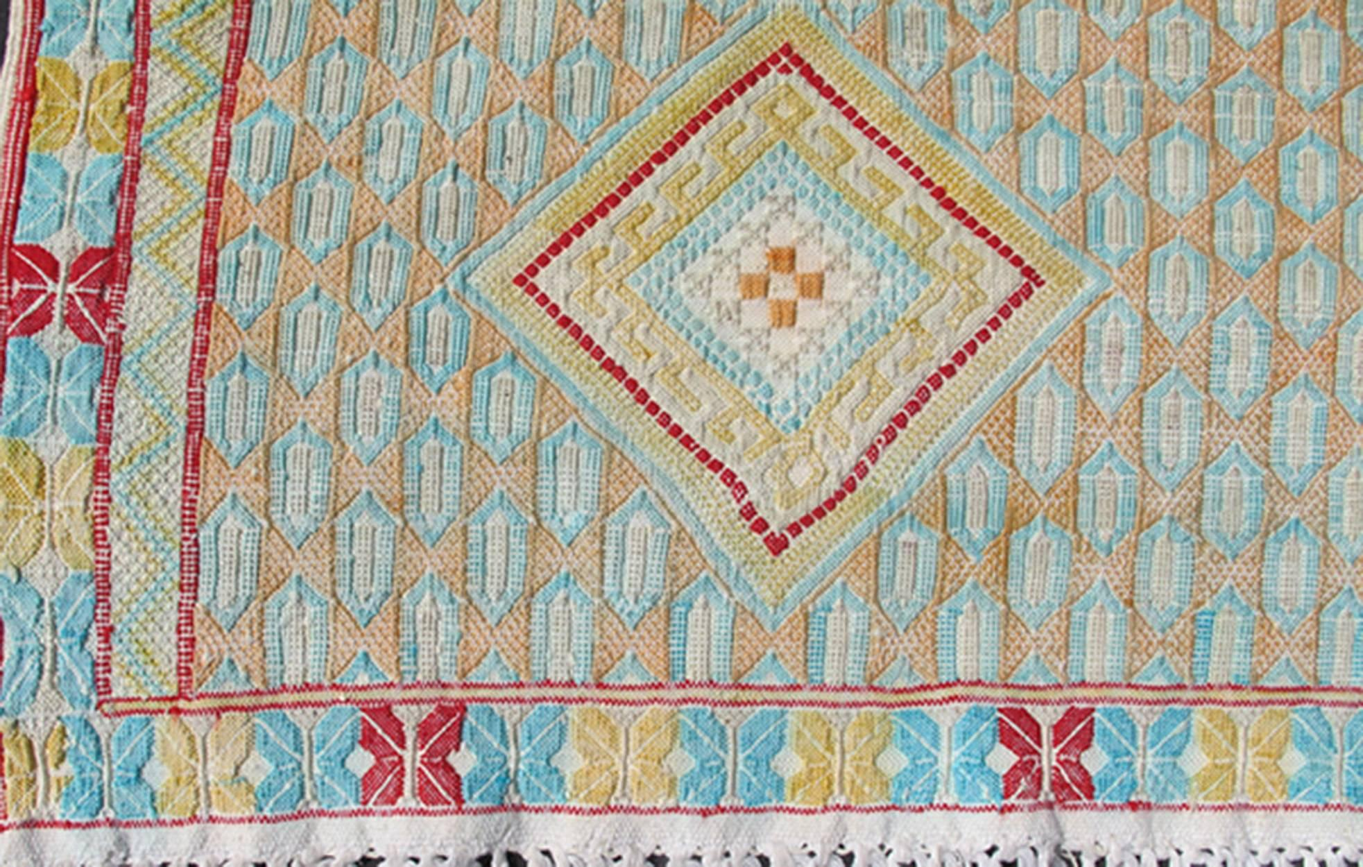 Colorful Vintage Embroidery Moroccan Rug With Diamond