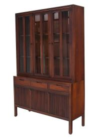 Mid-Century Modern Fluted Doors Walnut China Cabinet Hutch ...
