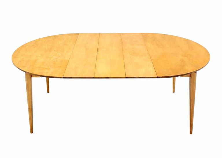 Round Birch Dining Table With Three Leaves At 1stdibs