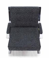 Scissor X-Base Chrome Lounge Chair with New Upholstery For ...