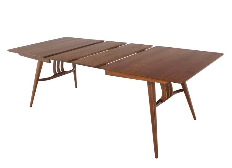 Mid Century Modern Walnut Sculptured Base Dining Table For