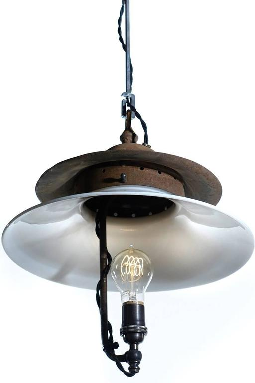 Interesting Rustic Pagoda Style Industrial Lamp For Sale