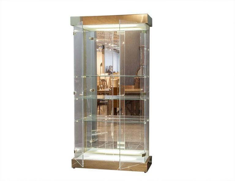 Lucite And Glass Mid Century Modern Curio Cabinet At 1stdibs