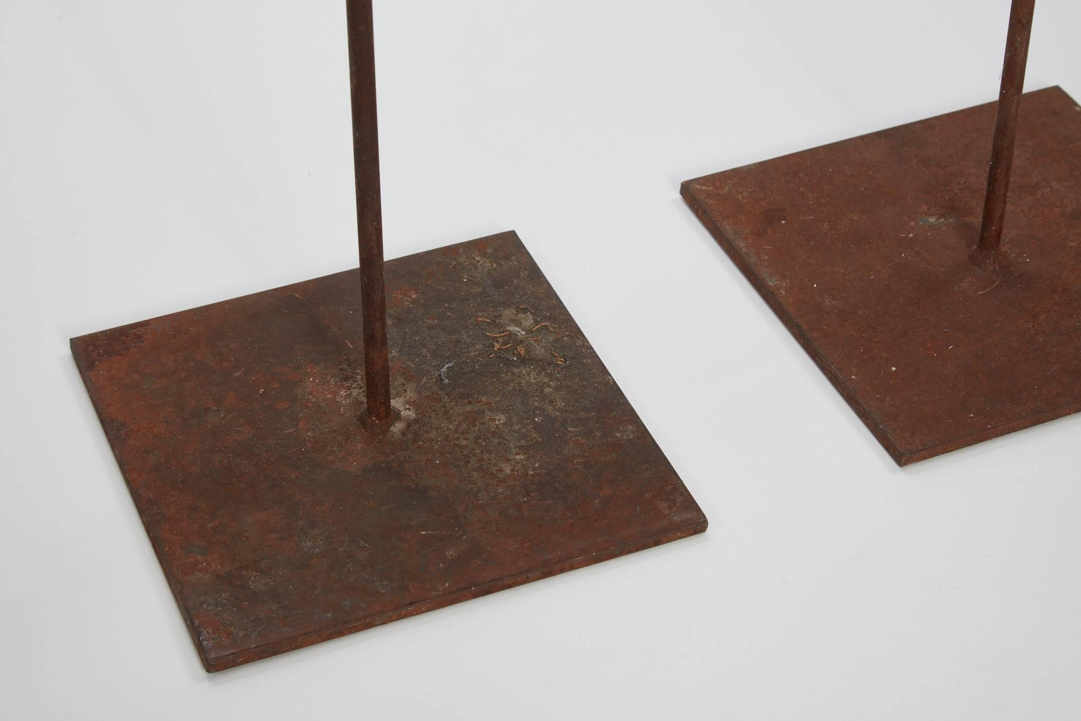 20th Century Pair Of Tall Floor Iron Candlesticks For Sale At 1stdibs