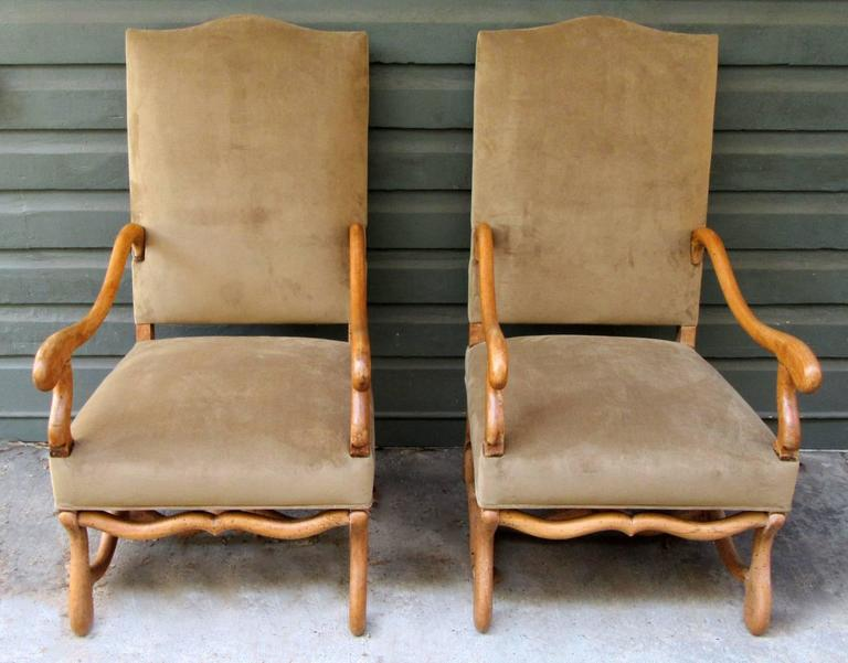 Pair Of 19th Century French Louis Xiii Fruitwood Armchairs