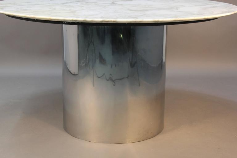 Knoll Arabescato Marble Top Knife Edge Dining Table On