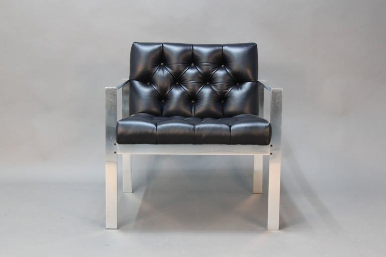 Flat Bar Chair With Button Tufted Leather For Sale At 1stdibs