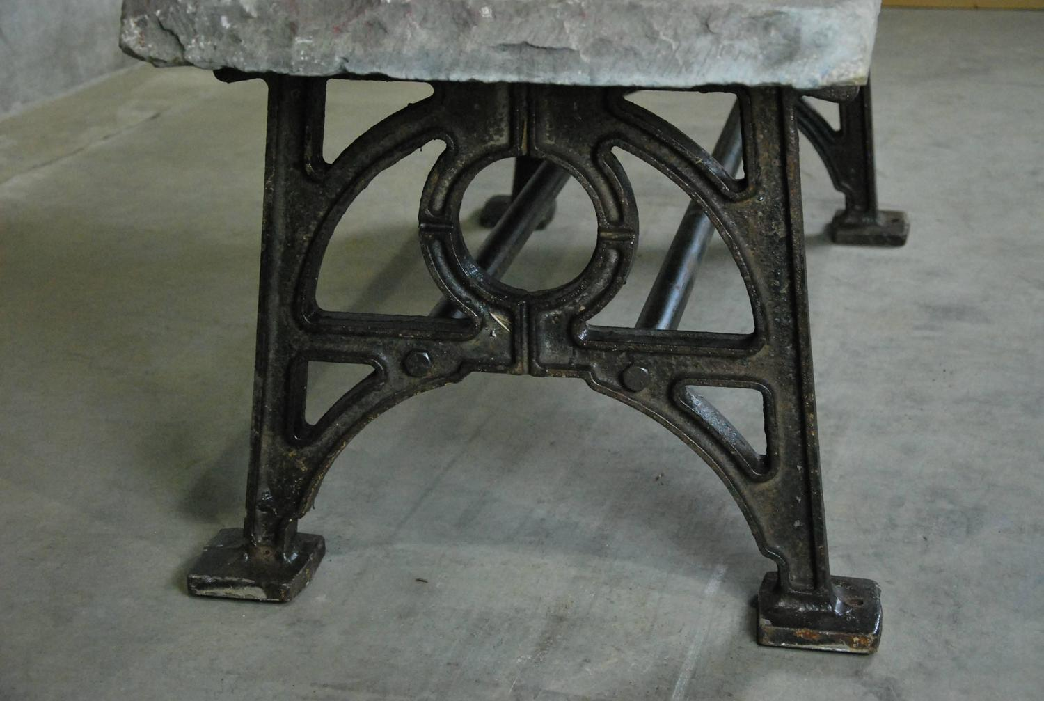 Couchtisch Mit Eisengestell Stone Top Coffee Table With Cast Iron Base For Sale At 1stdibs