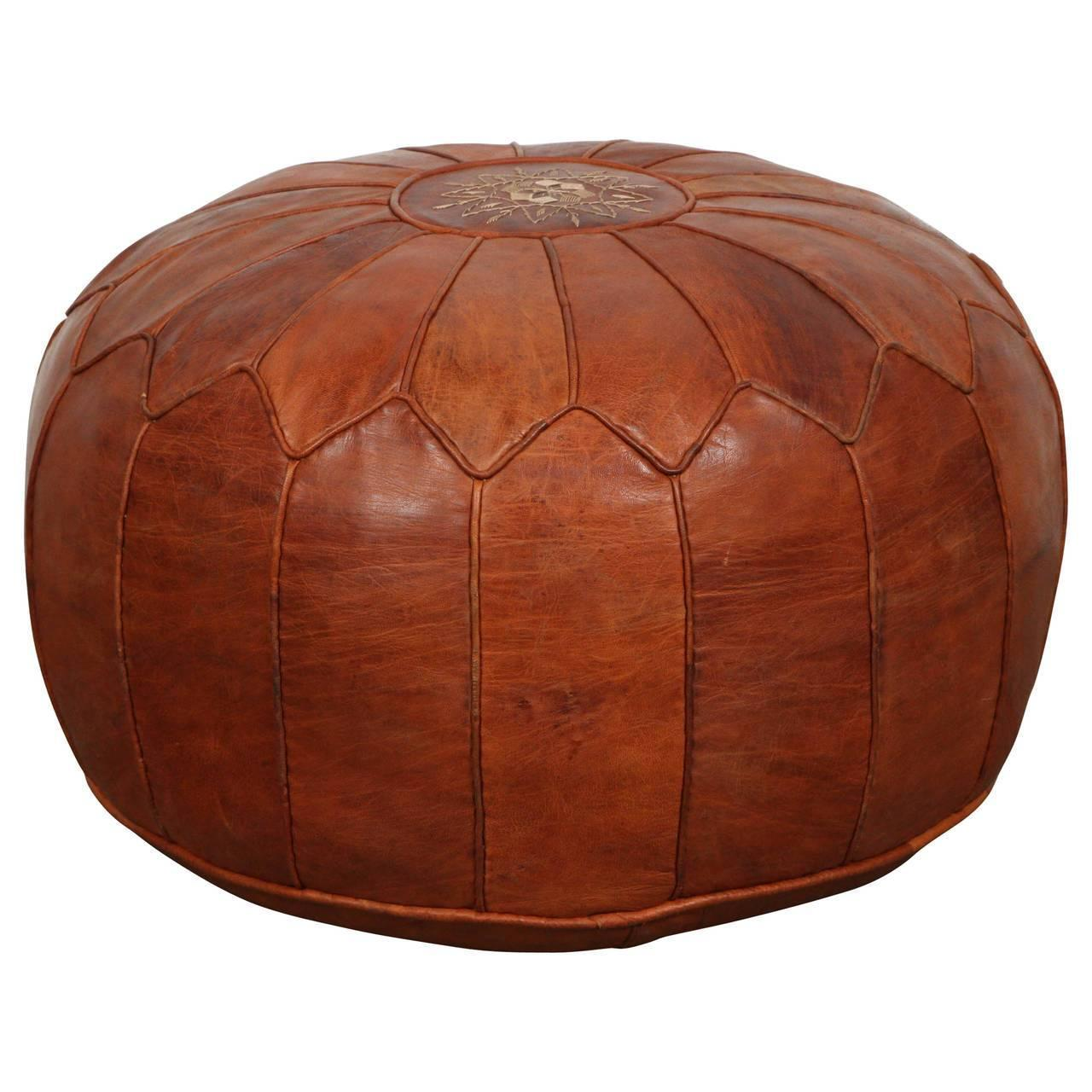 Pouf Vintage Large Vintage Moroccan Leather Pouf