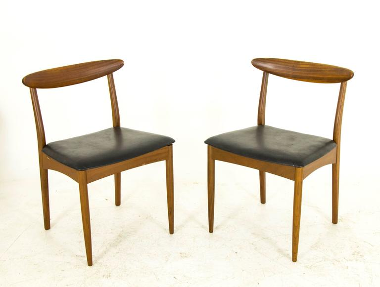 Vintage Mid Century Modern Six Teak Dining Side Chairs By