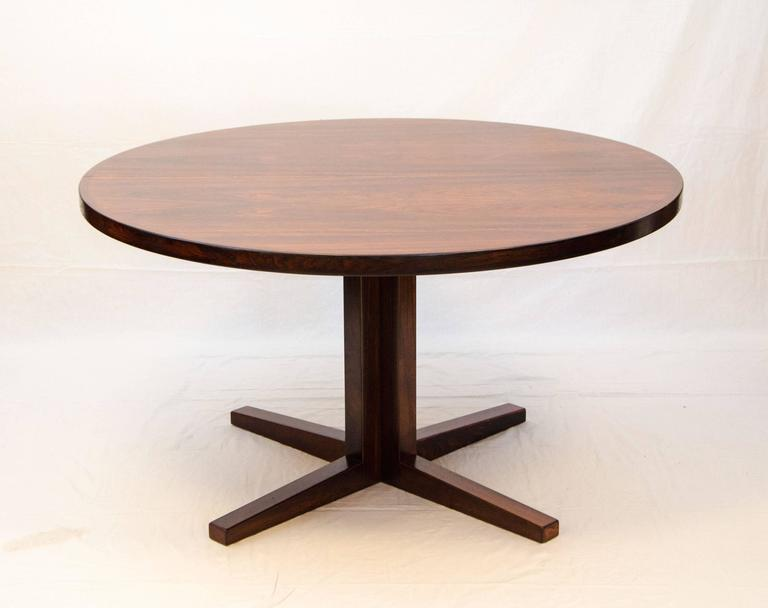 Danish Rosewood Round Pedestal Dining Table One Leaf At