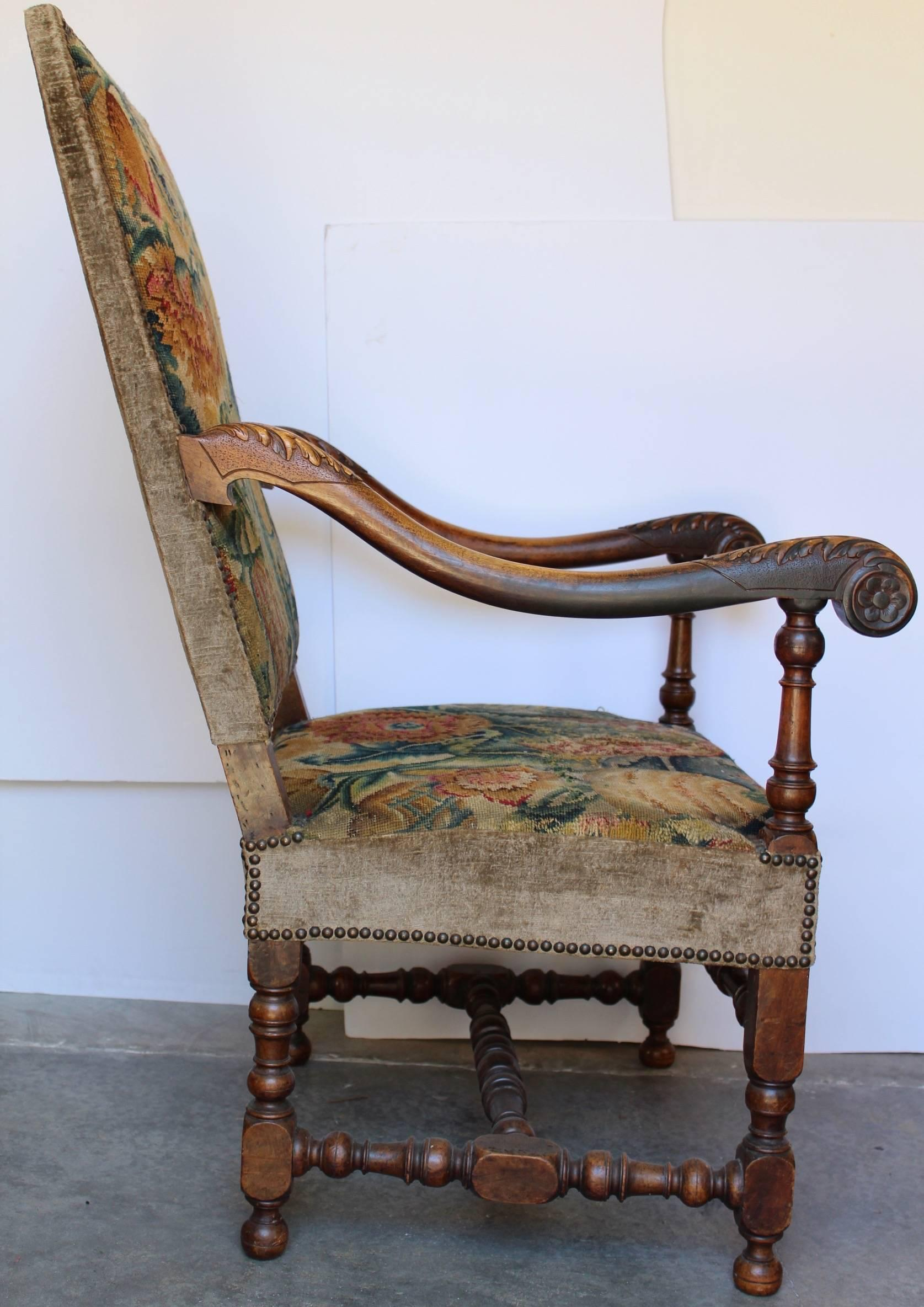 Louis Xiii Fauteuil With Its Original Tapestry Circa 1630 For Sale At 1stdibs