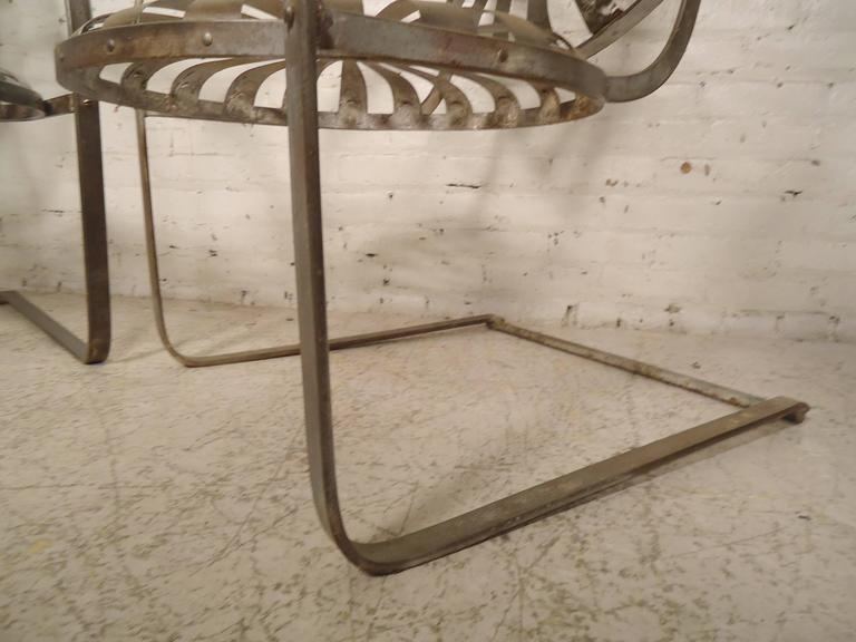 Pair Of Refinished Spring Patio Chairs At 1stdibs