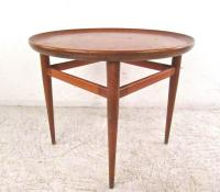 Mid-Century Modern Leather Top End Table by Henredon For ...
