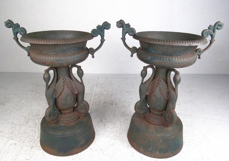 Pair Of Vintage Cast Iron Garden Urns For Sale At 1stdibs