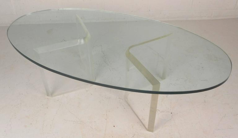 Mid Century Modern Oval Glass And Lucite Coffee Table For