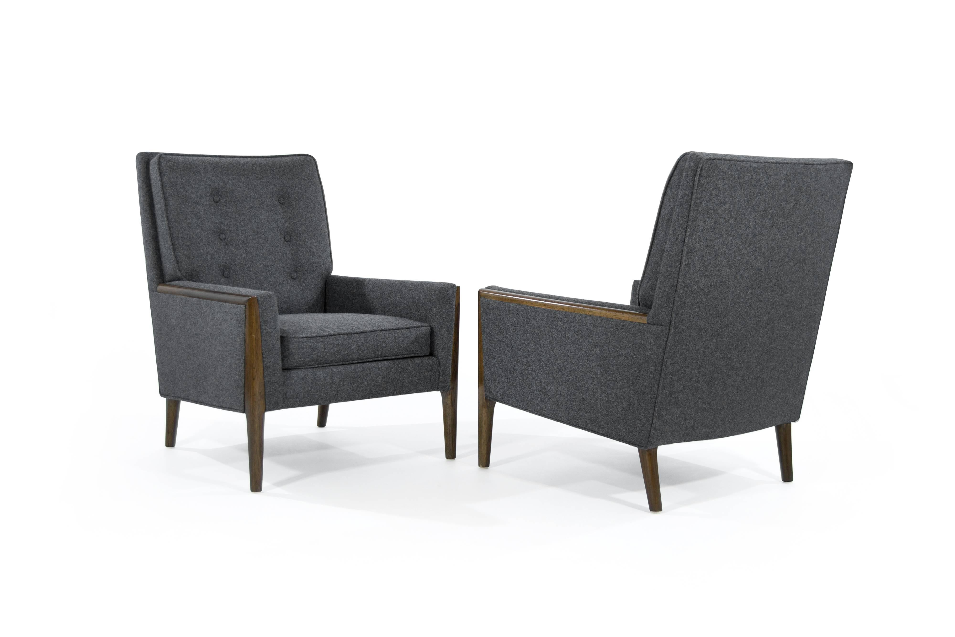 Mid Century Modern High Back Lounge Chairs In Grey Wool