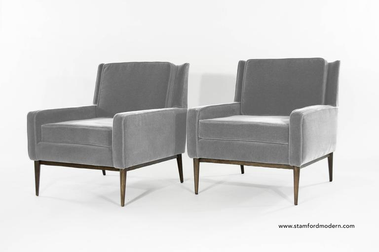 Paul Mccobb For Directional Lounge Chairs In Grey Mohair