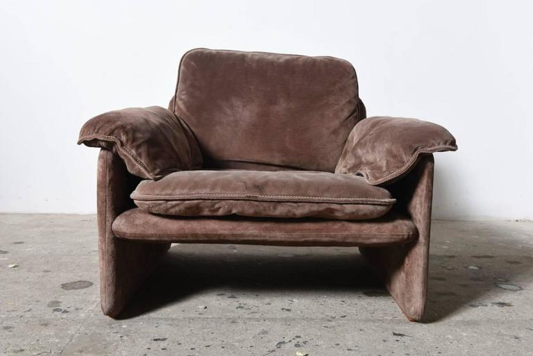 Pair Of Brown Suede Seventies Lounge Chairs For Cassina At