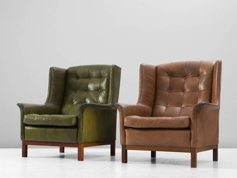 Arne Norell Pair Of High Back Chairs In Patinated Green