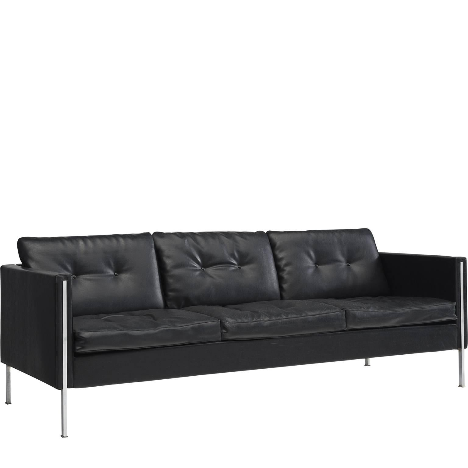 Pierre Paulin Sofa Pierre Paulin 442 Sofa In Black Faux Leather For Artifort