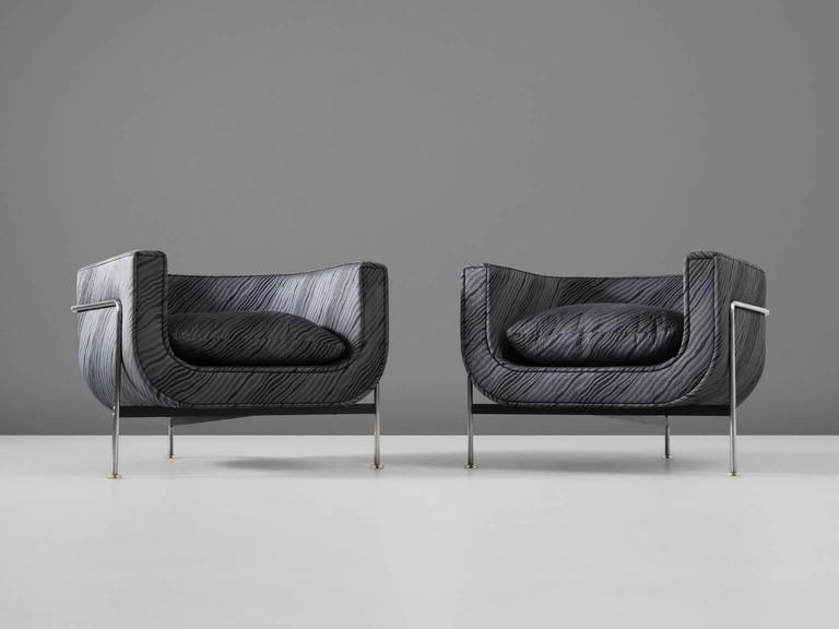 Set Of Two French Tubular Lounge Chairs With Grey Blue