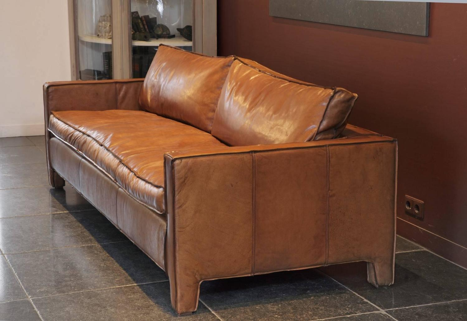 Sleek Leather Couch Comfortable Modern And Sleek Calfskin Leather Three Seat