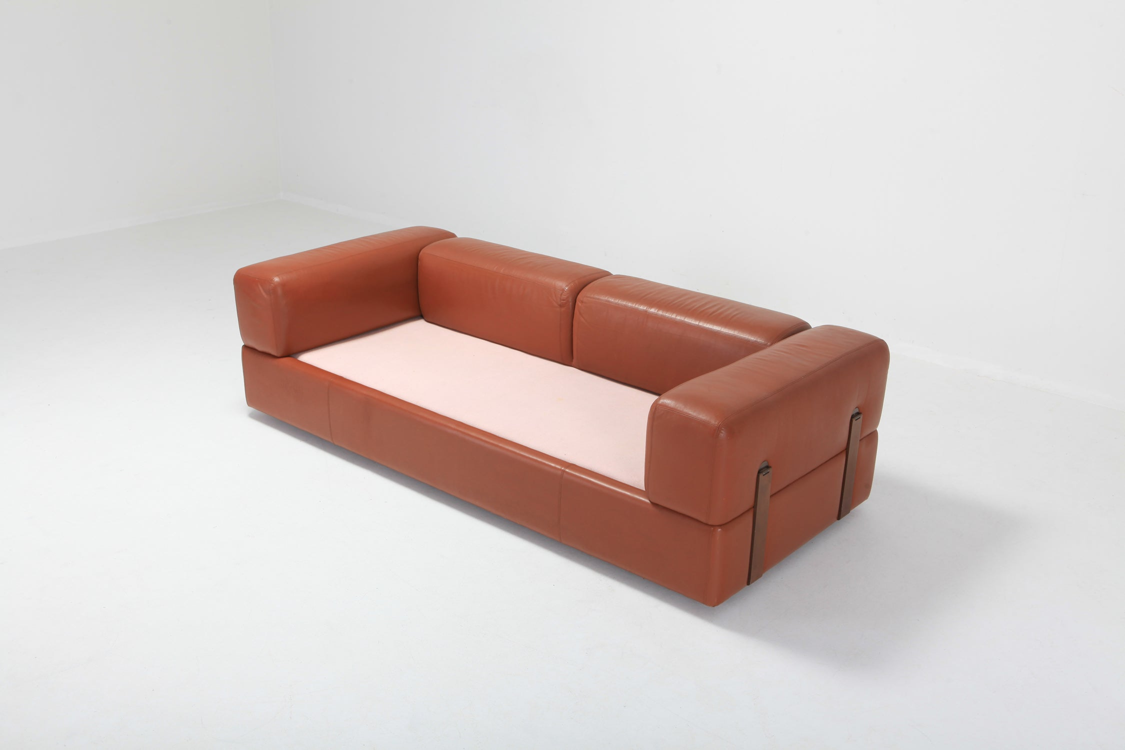 Sofa Beds Amsterdam Minimalist Cognac Leather Sofa By Tito Agnoli For Cinova