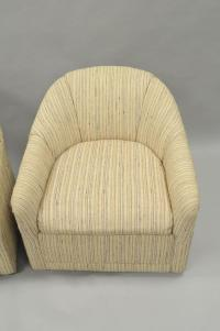 Pair of Upholstered Barrel Back Swivel Club Lounge Chairs ...
