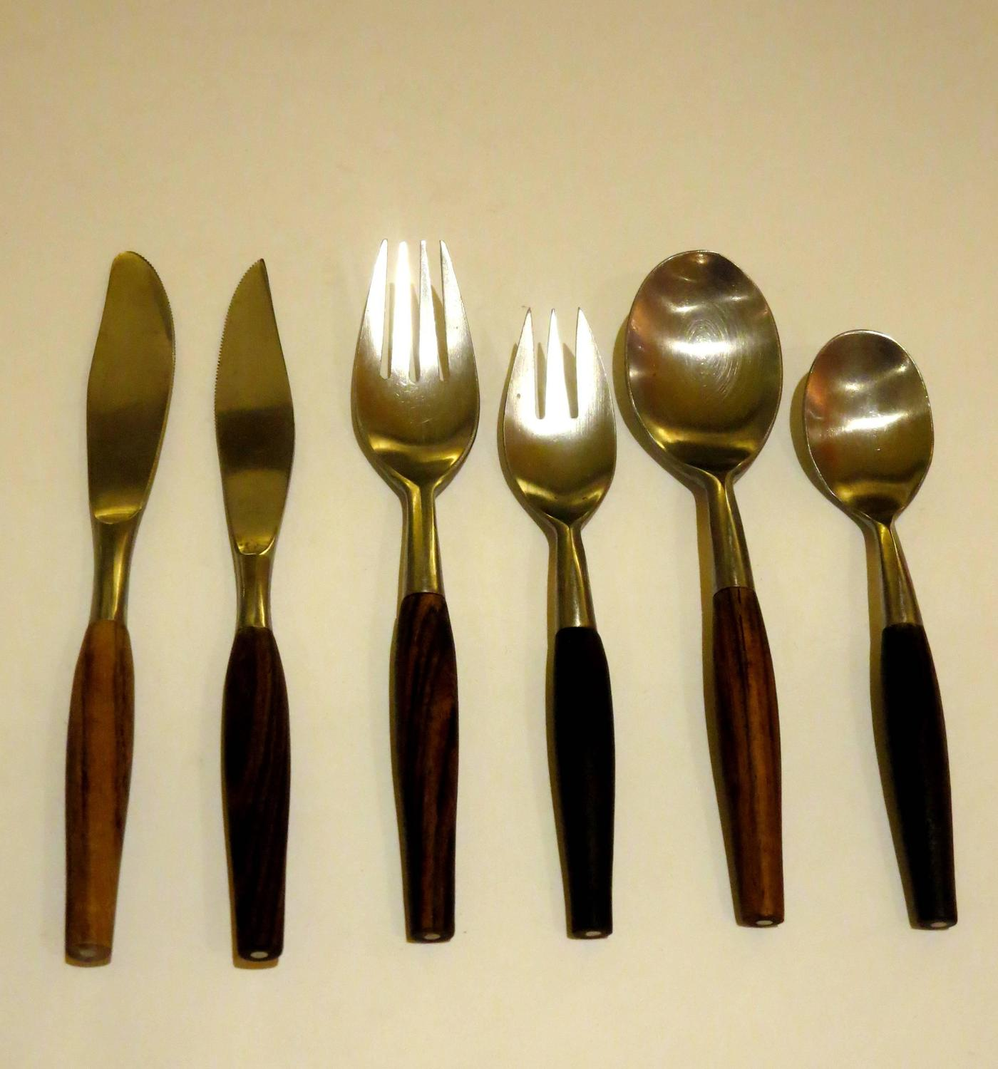 Contemporary Stainless Steel Flatware 1950s Danish Modern Stainless Steel And Rosewood Flatware
