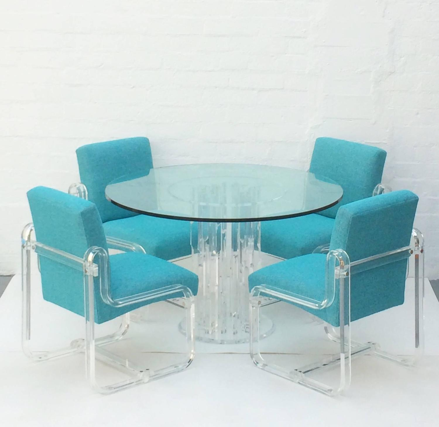 Acrylic Dining Chairs Set Of Four Acrylic Dining Chairs By Vivid For Sale At 1stdibs