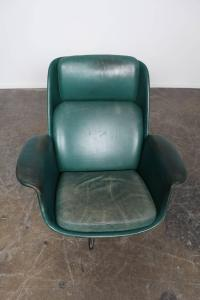 Danish Midcentury Green Leather Swivel Lounge Chairs at ...
