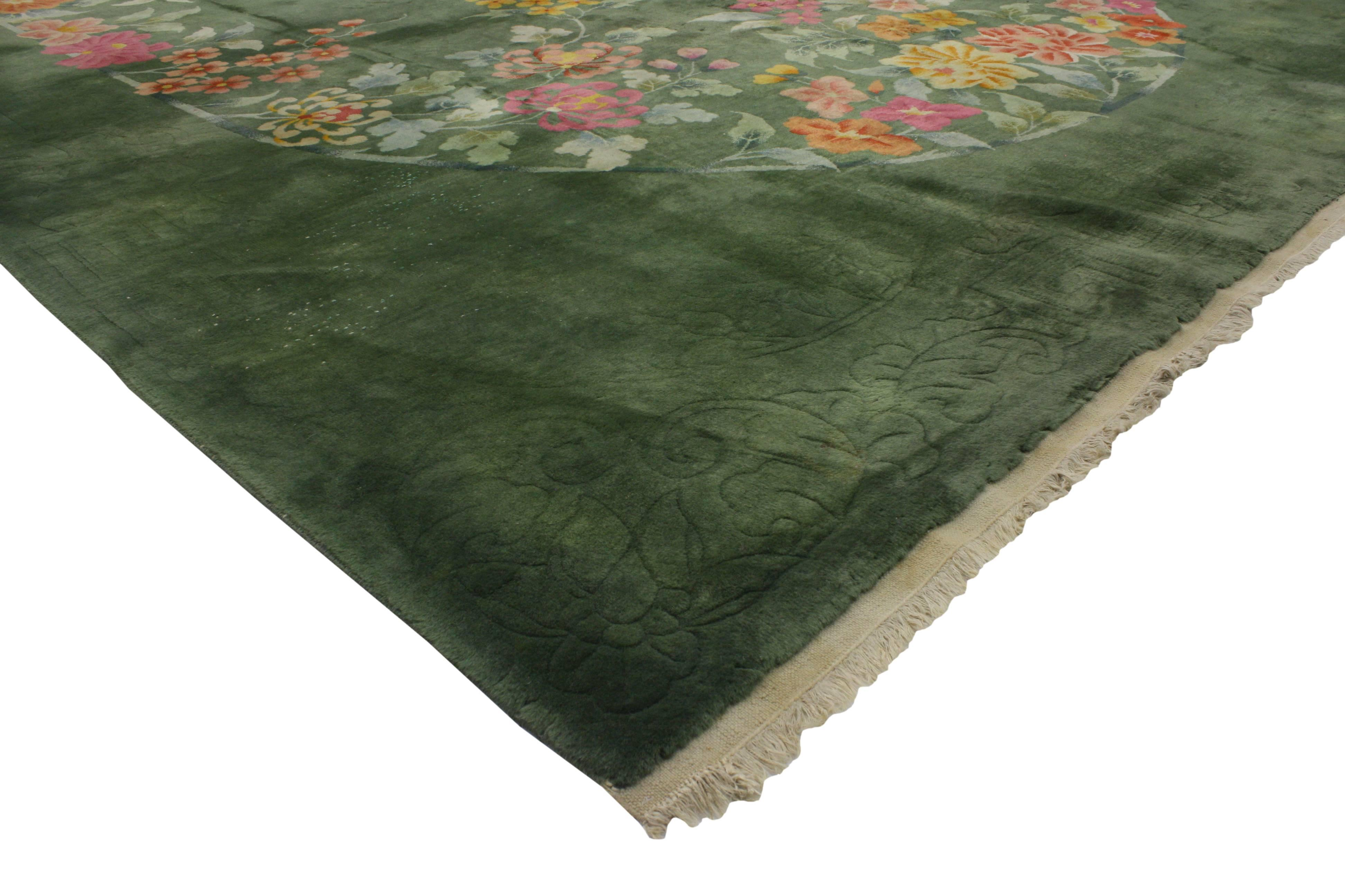 Early 20th Century Antique Chinese Art Deco Rug Green