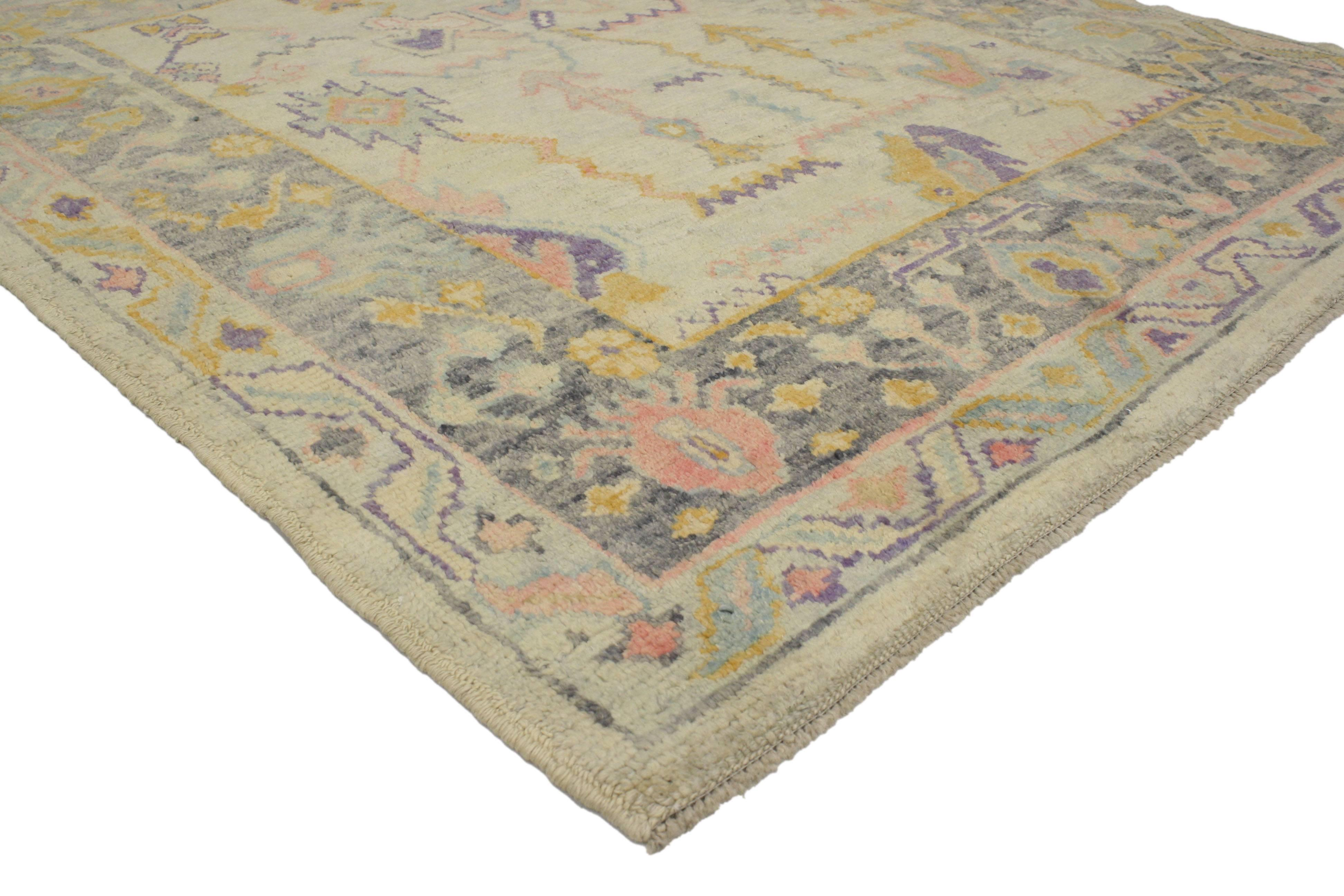 Contemporary Turkish Oushak Rug In Pastel Colors With