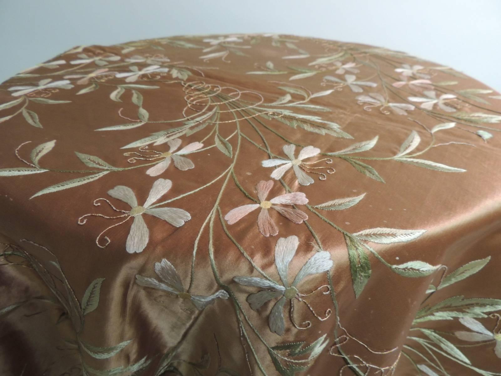19th Century Satin French Embroidered Floral Cloth Or