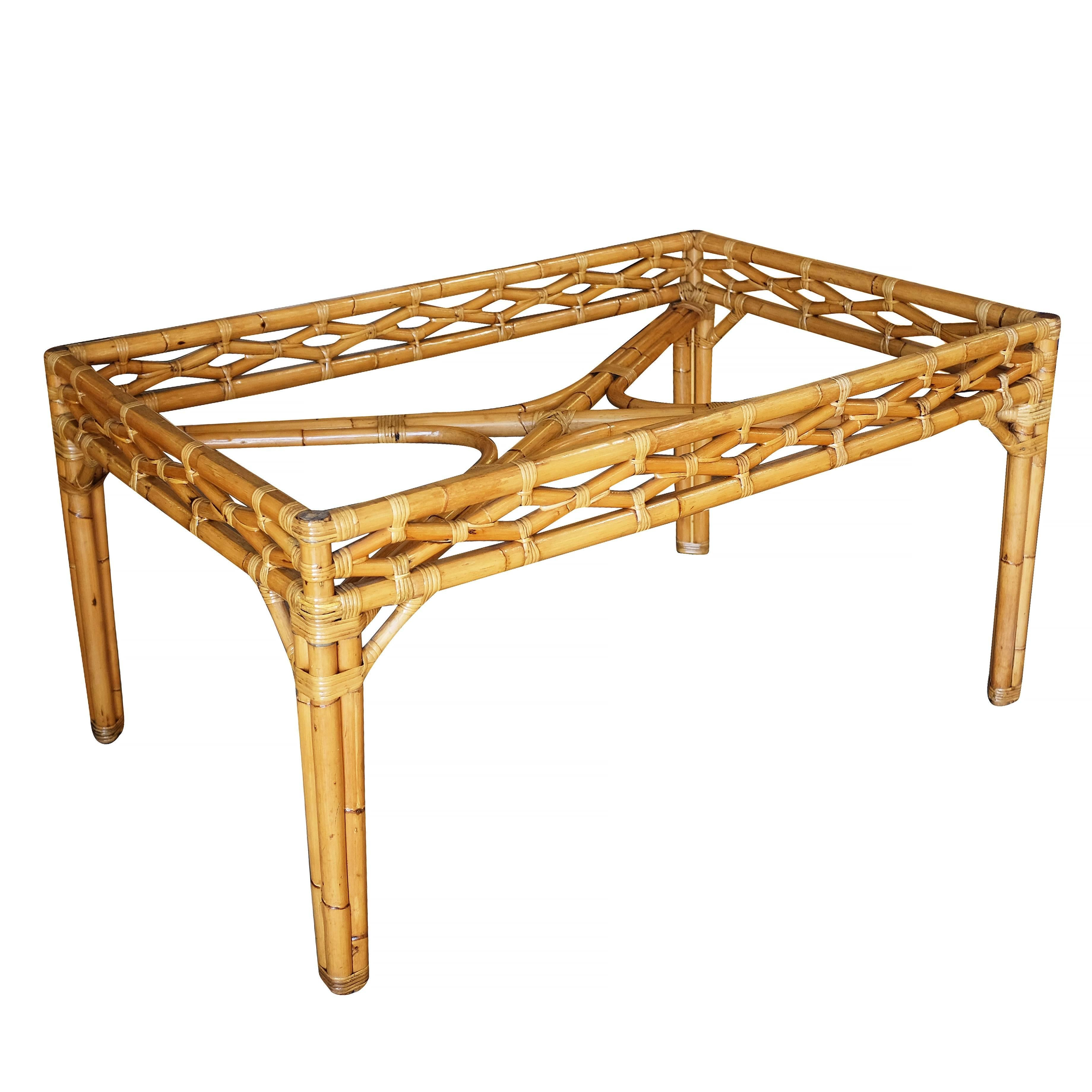 Rattan Table Midcentury Large Rattan Dining Table With Glass Top