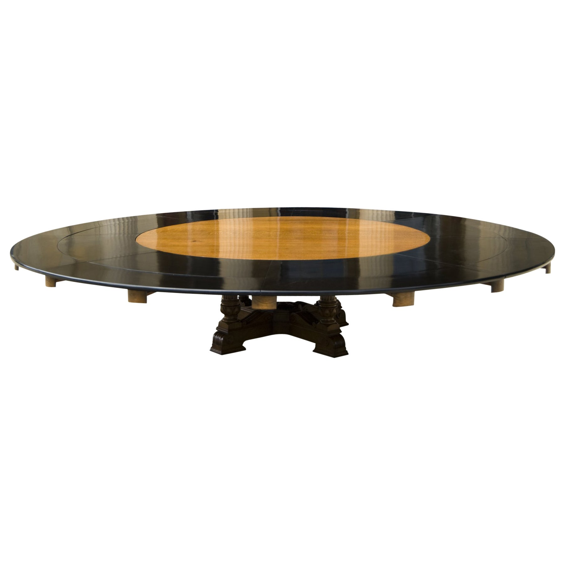 Round Oak Dining Table Massive Thirteen Foot Wide Round Oak Antique Dining Table To Seat Twenty People