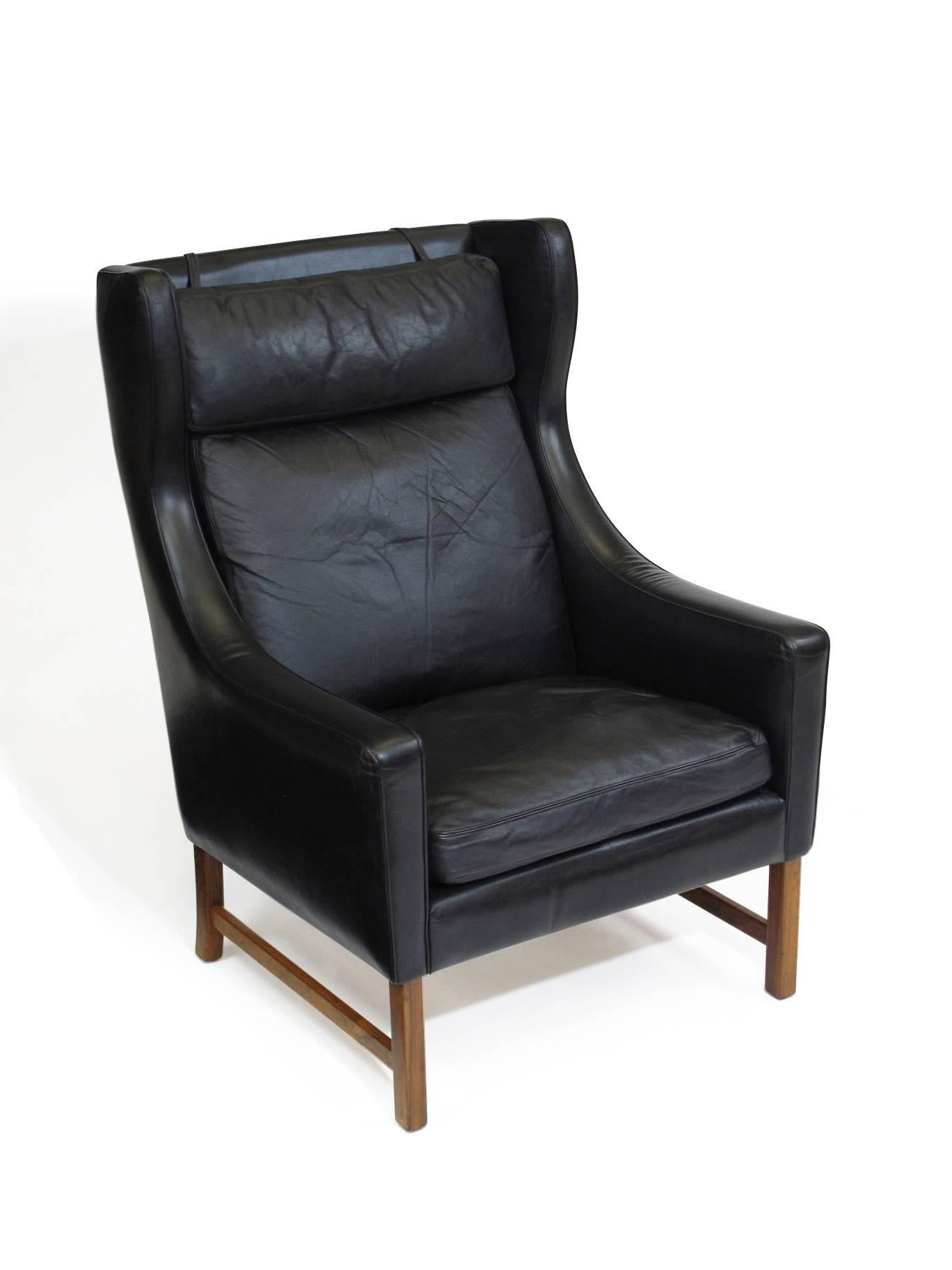 Fredrik Kayser Rosewood And Black Leather High Back Danish - Leather High Back Lounge Chair