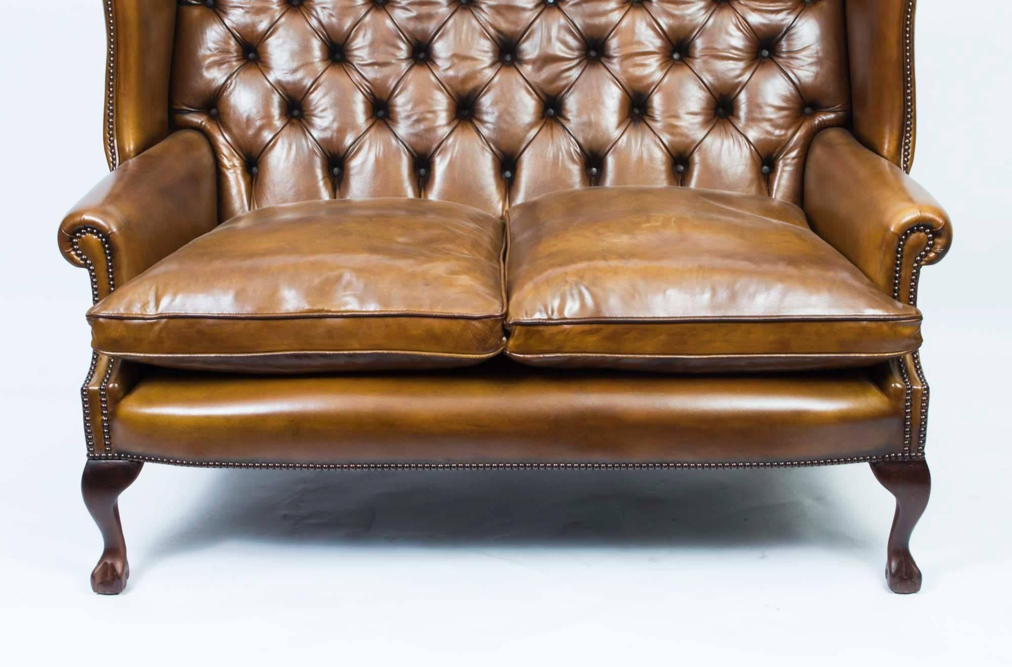Sofa Cognacfarben Bespoke English Leather Chippendale Club Settee Sofa In Cognac