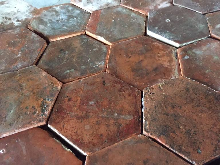 Original French Antique Hexagonal Terra Cotta Flooring