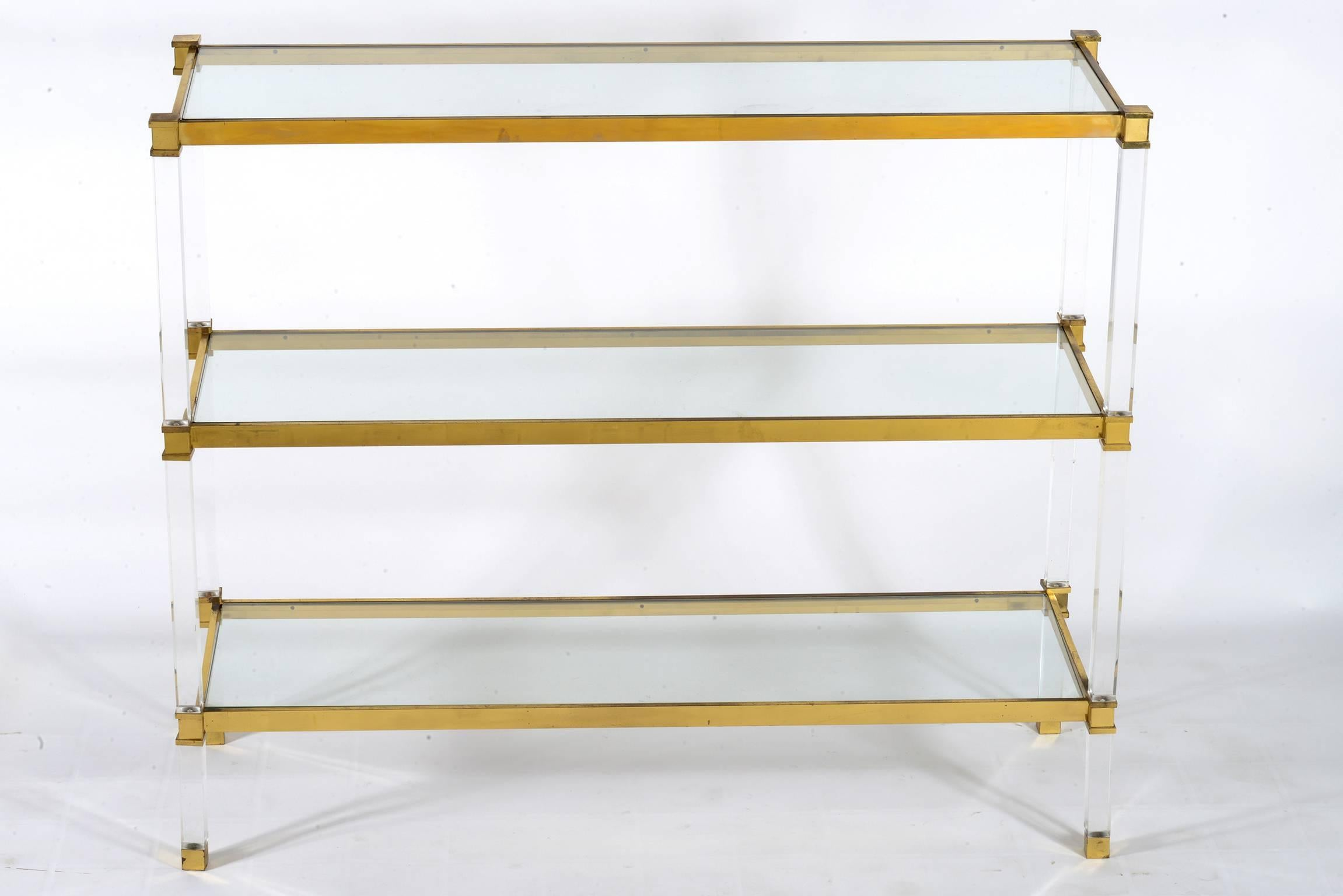 Midcentury Lucite Brass And Glass Shelf Console Etagere