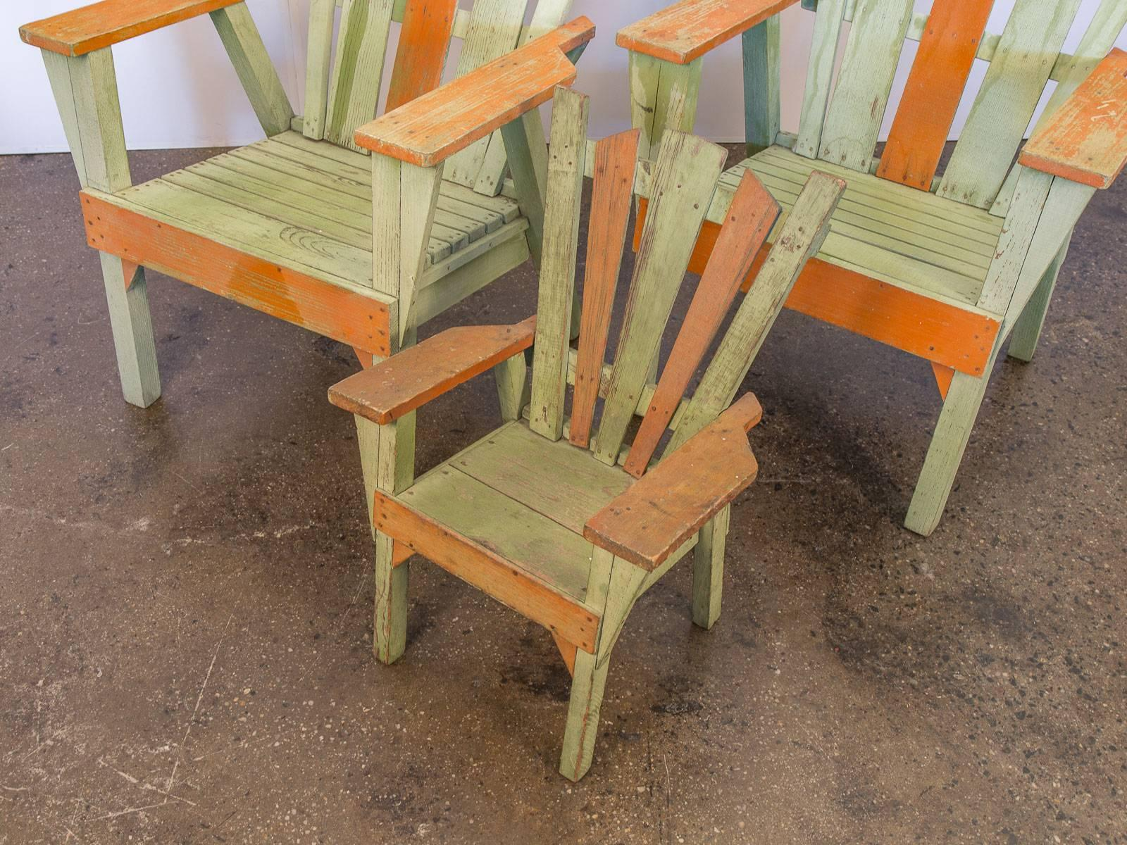 Family Set Of 1960s Adirondack Chairs For Sale At 1stdibs