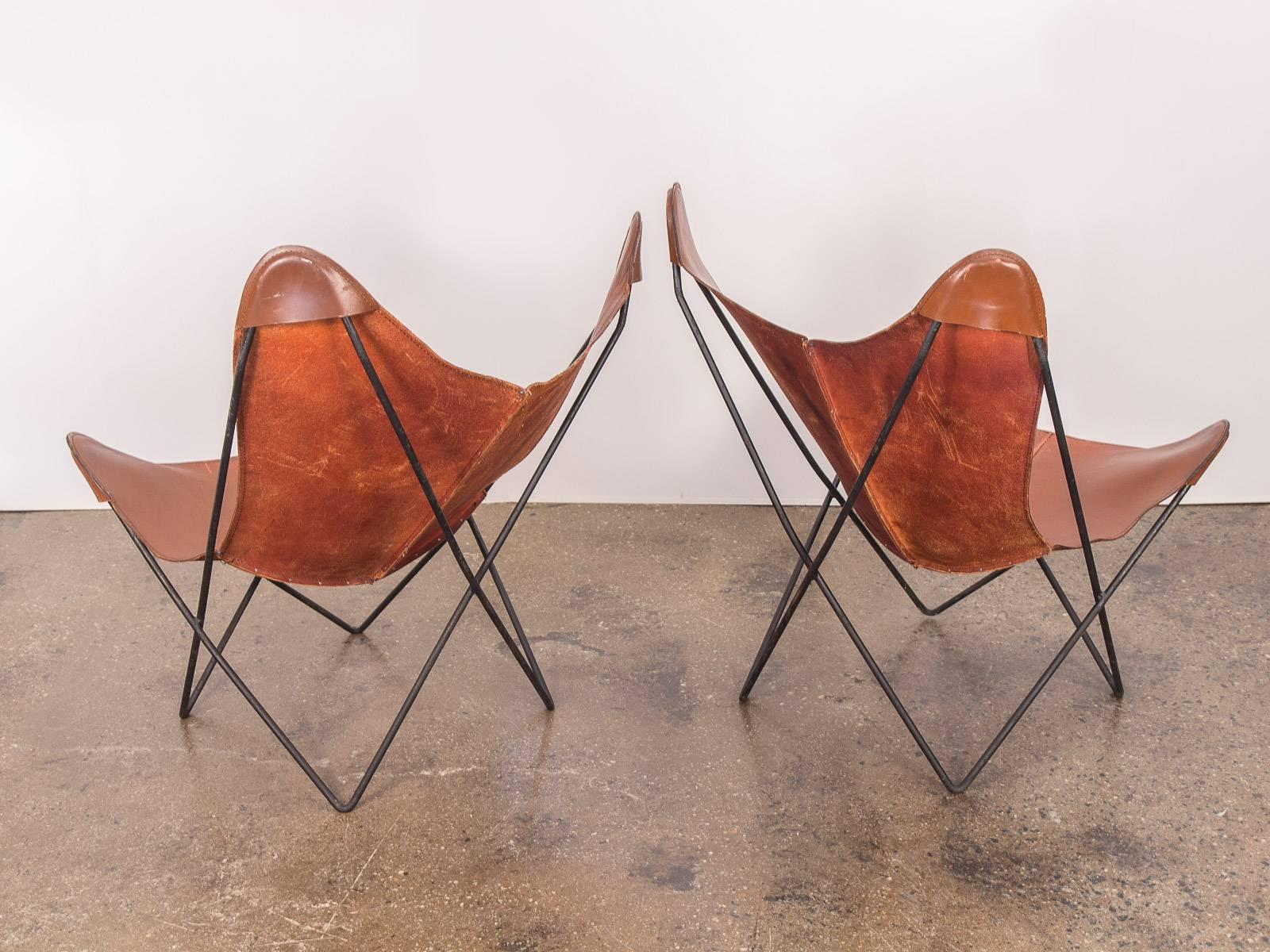 Butterfly Chair Knoll Pair Of Tabacco Brown Hardoy Butterfly Bkf Chairs For Knoll