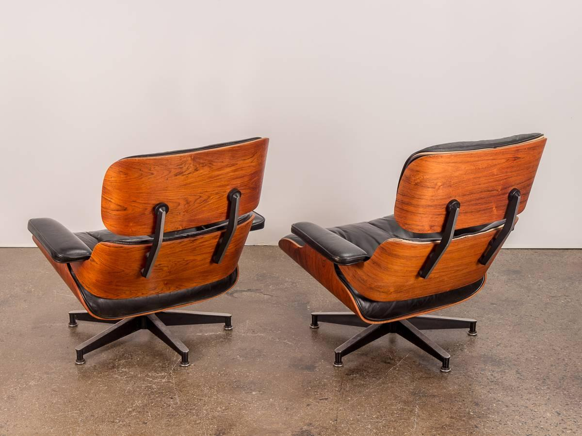 Pair Of 1960s Eames 670 Lounge Chairs And 671 Ottomans At