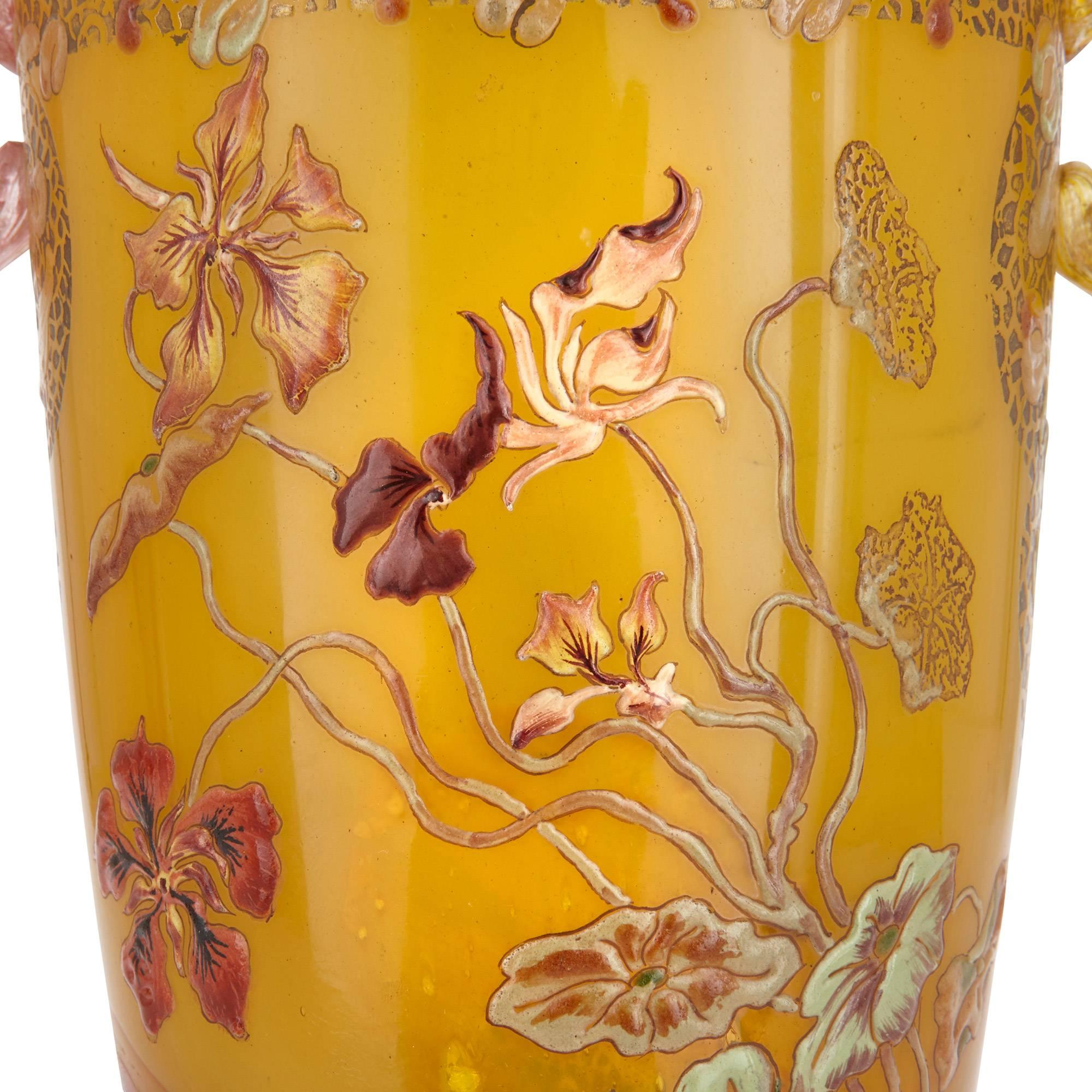 Art Nouveau Yellow Antique Art Nouveau Style Yellow Glass Vase With Twin Handles By Emile Gallé