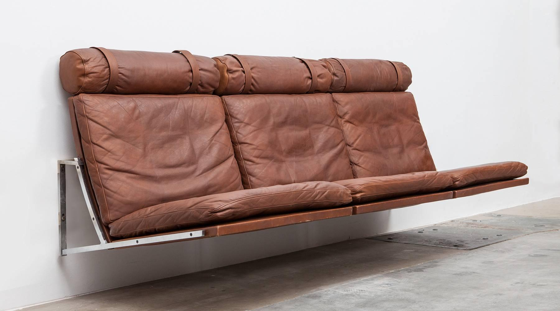 Sofas Frankfurt 1960s Brown Leather Wall Mounted Sofa By Fabricius Kastholm
