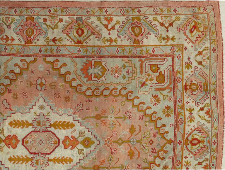 Antique Oushak Carpet Turkish Rugs Handmade Oriental Rug
