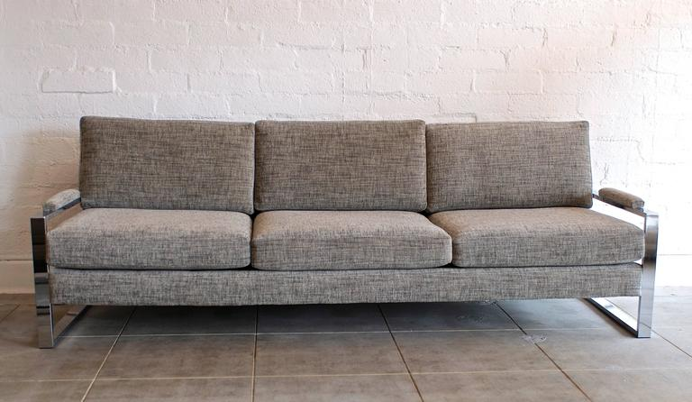 Milo Baughman Chrome Flat Bar Sofa And Lounge Chair At 1stdibs