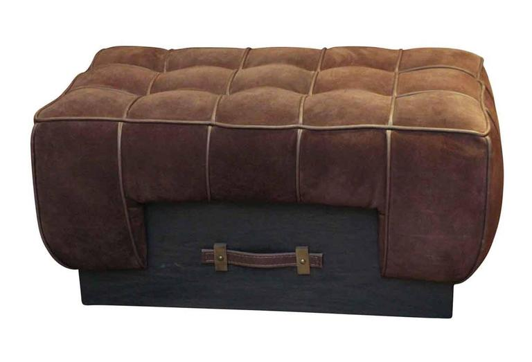 1990s Warm Brown Suede Leather Ottoman With A Wooden Base
