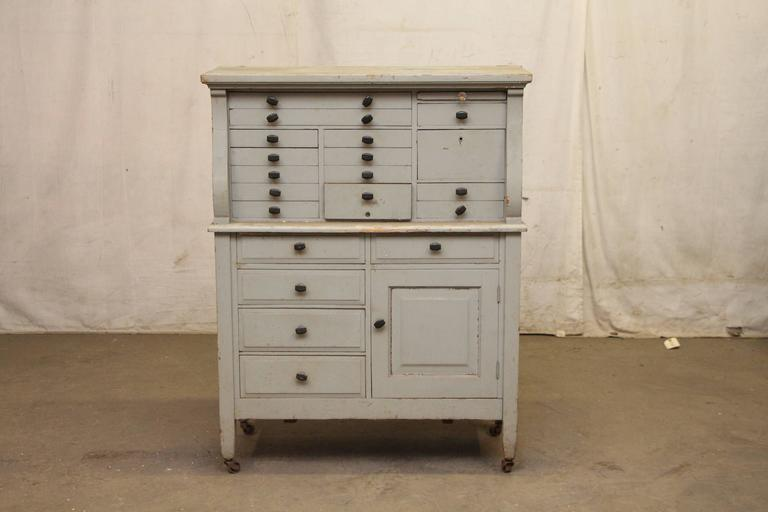 1910s Arts Crafts Multi Drawer Wooden Dental Cabinet